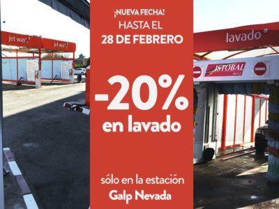 Galp Nevada. 20% descuento en lavado.
